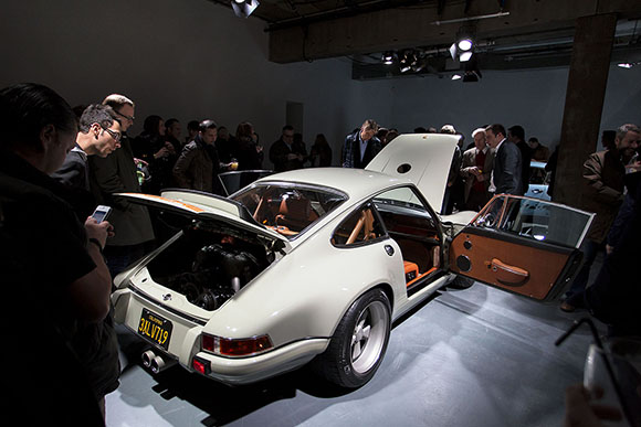 Enthusiasts admire the Singer 911